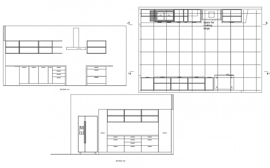 Kitchen both sided section and layout plan cad drawing details dwg file
