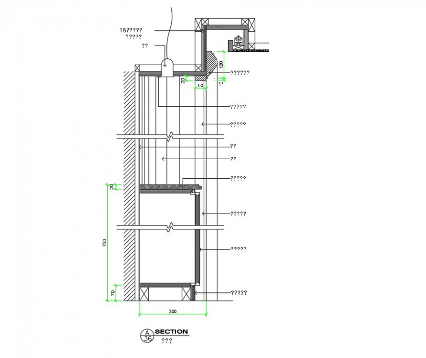 Kitchen Cabinets & Spotlights section plan