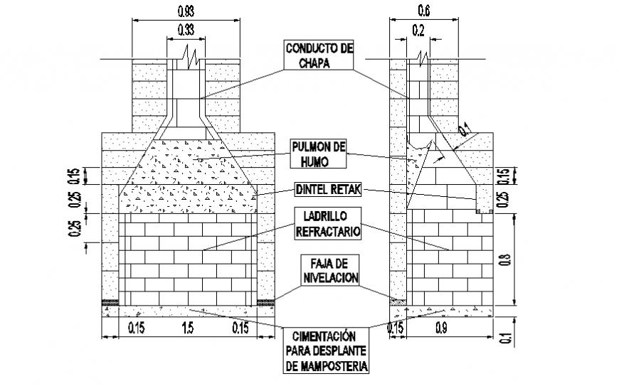 Kitchen chimney elevation layout file
