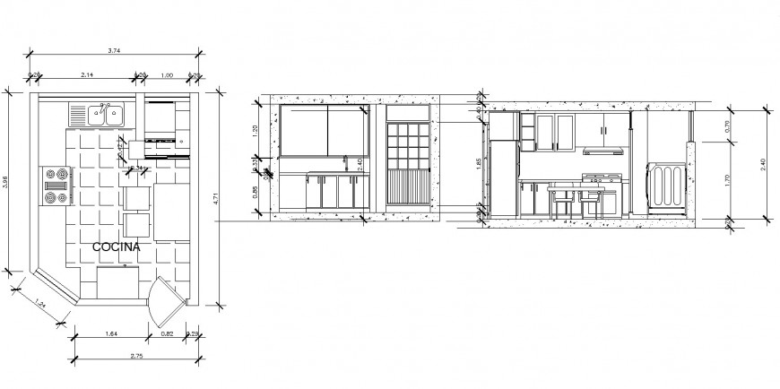 Kitchen design plan drawing in dwg file.