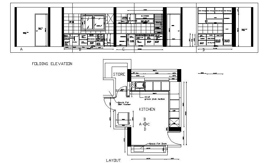 Kitchen detail drawing in dwg file.