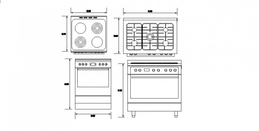 Kitchen detail of stove block in AutoCAD file