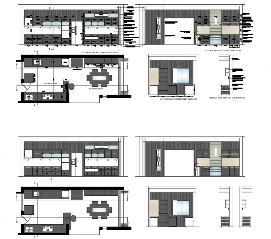 Kitchen Dwg File: Kitchen Elevation, Section, Plan And Interior Details Dwg