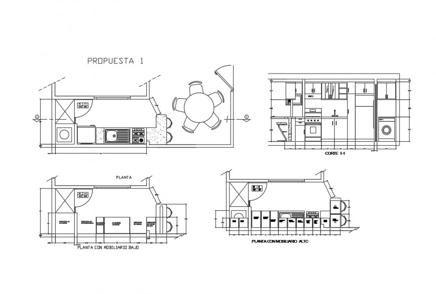 Kitchen elevation, section and plan details of one family house dwg file