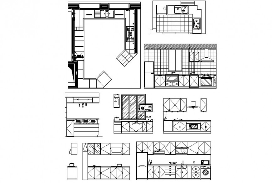 Kitchen Elevation and section detail and furniture detail  dwg file