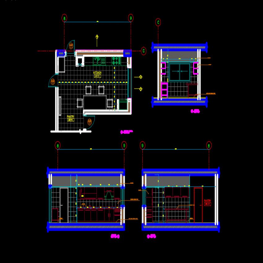 Kitchen Dwg File: Multiple Kitchen Elevation Blocks Cad Drawing Details Dwg