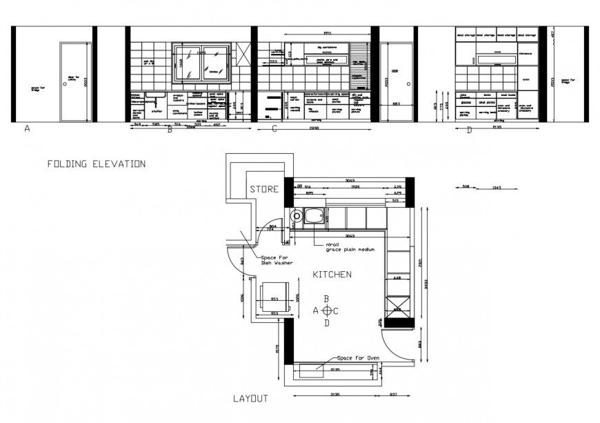 Kitchen folding elevation and layout plan details with store room dwg file