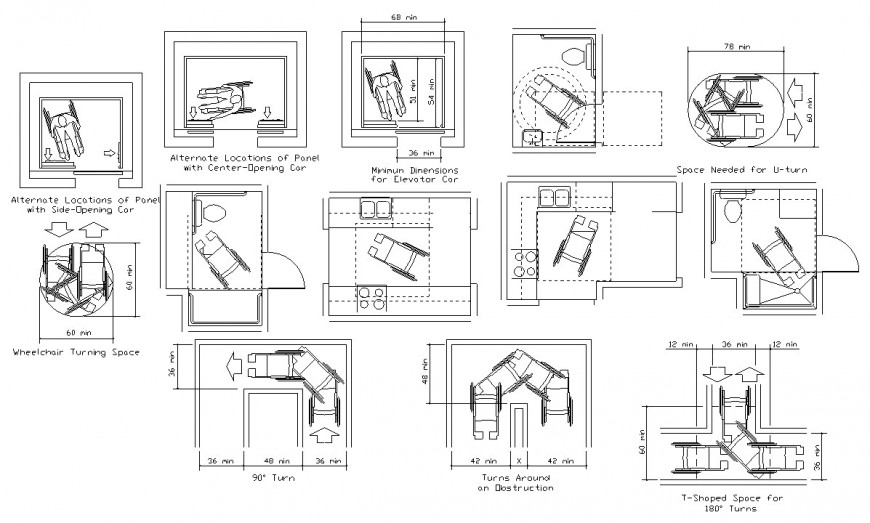 Kitchen for handicap department and plan drawing details dwg file