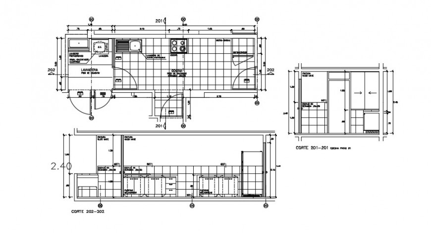 Kitchen for house section and layout plan cad drawing details dwg file