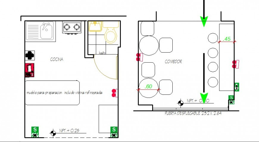 Kitchen for office layout plan with furniture drawing details dwg file