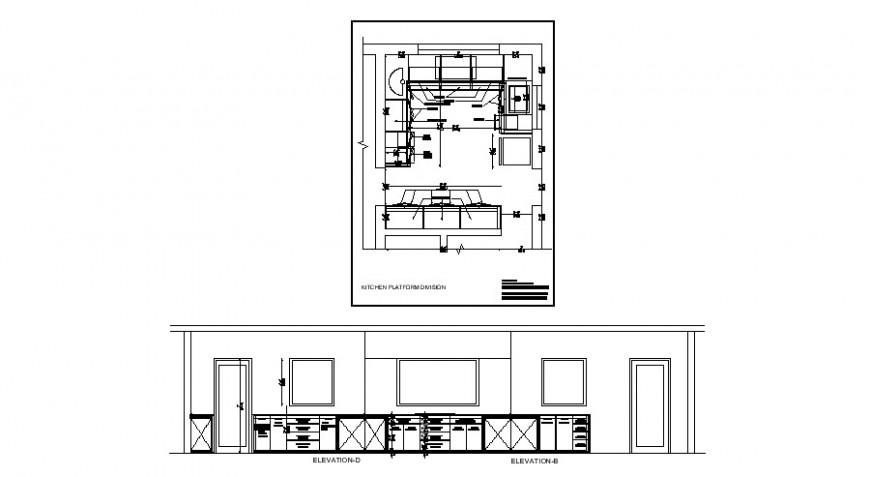 Kitchen front and back elevation and platform dimensions details dwg file
