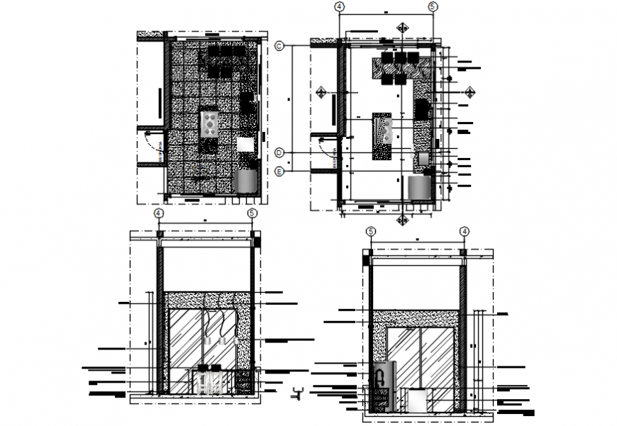 Kitchen front and back sections and plan cad drawing details dwg file