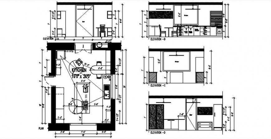 Kitchen furniture 2d model design and plan