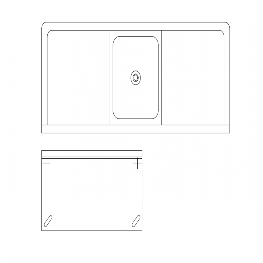 Kitchen furniture blocks with sink view dwg file