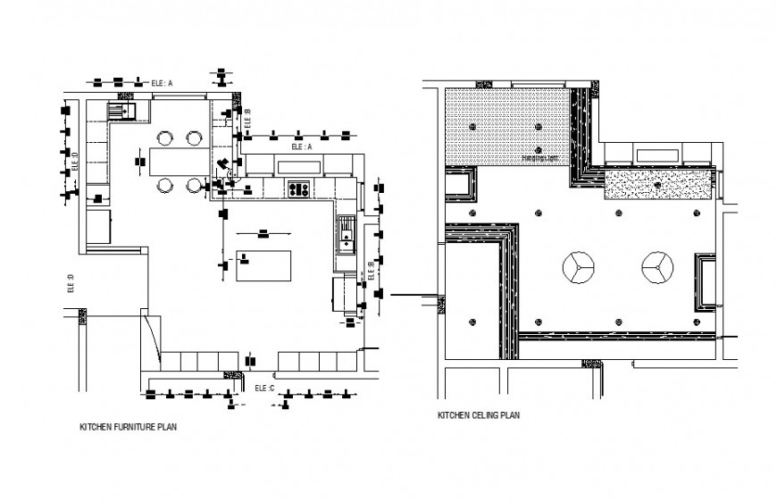 Kitchen furniture layout plan and ceiling plan cad drawing details dwg file