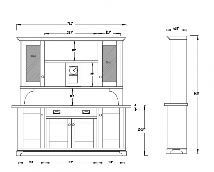 Kitchen hutch sectional and interior details dwg file