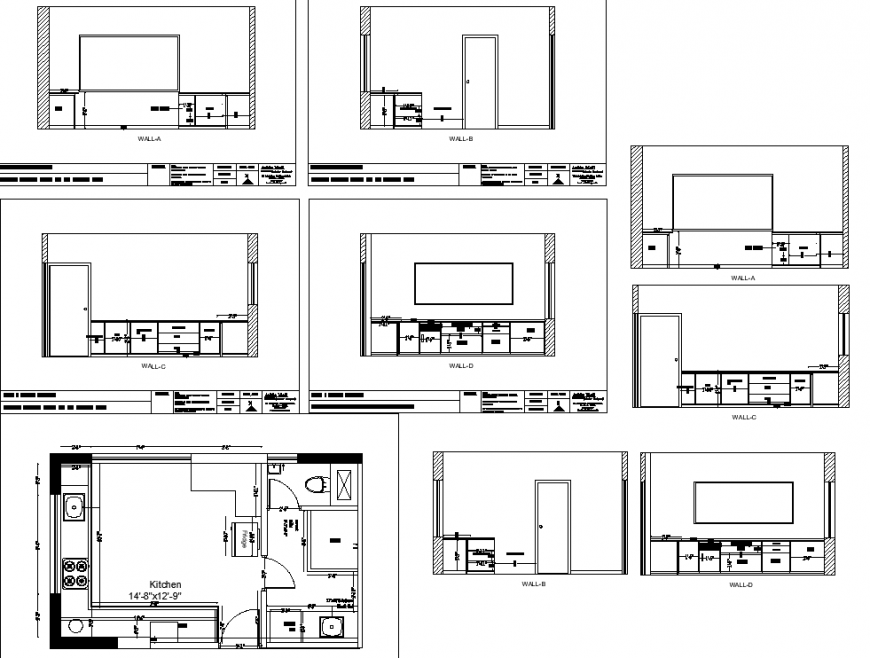 Kitchen interior detail drawing in dwg file.