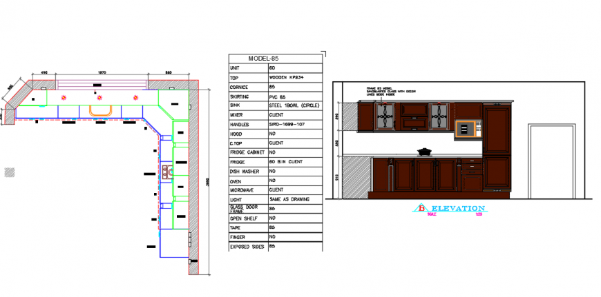 Kitchen Interior detail with plan & elevation design.