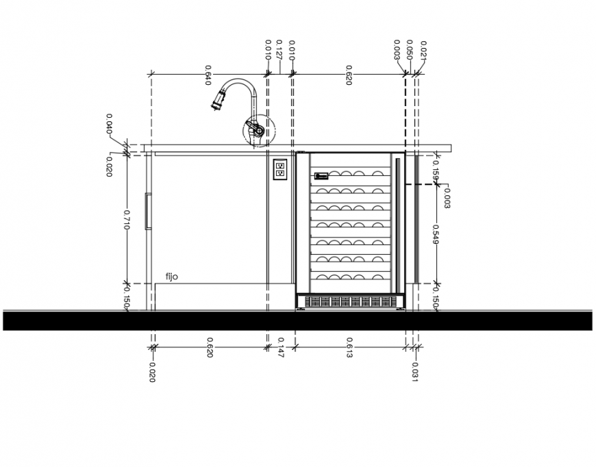 Kitchen island with wine cooler cad drawing interior details dwg file