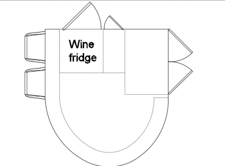 Kitchen island with wine fridge plan