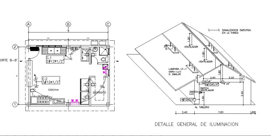 Kitchen isometric elevation and plan with furniture drawing details dwg file