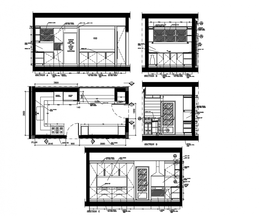 Kitchen layout drawing of the house