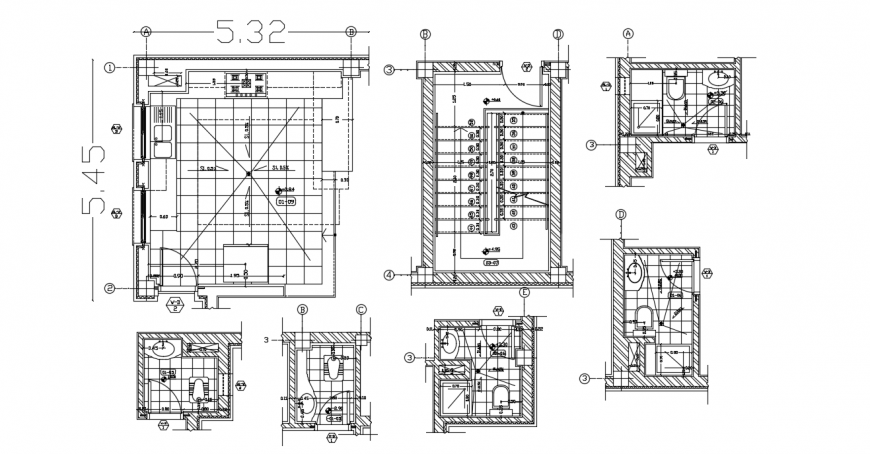Kitchen layout plan and bathroom details for residential house dwg file