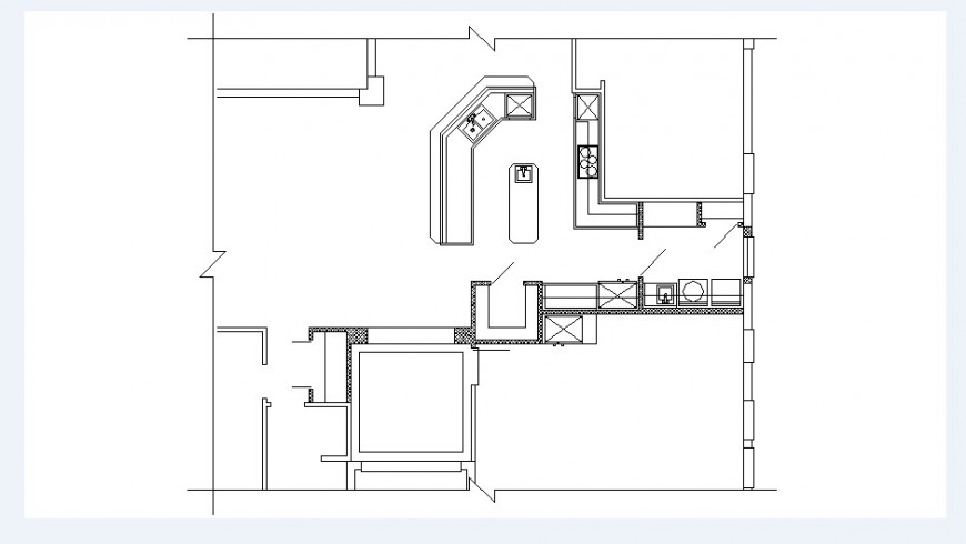 Kitchen layout plan and house structure cad drawing details dwg file