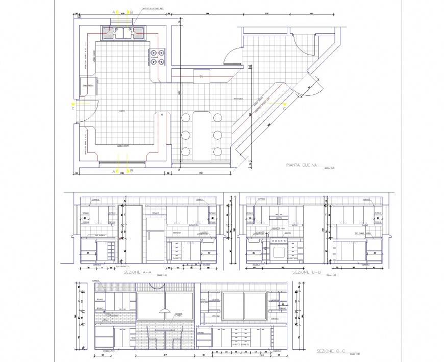 Kitchen layout plan and section autocad file