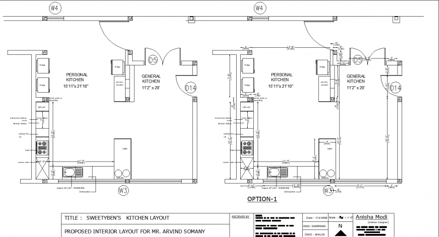 Kitchen layout plan drawing in dwg AutoCAD file.