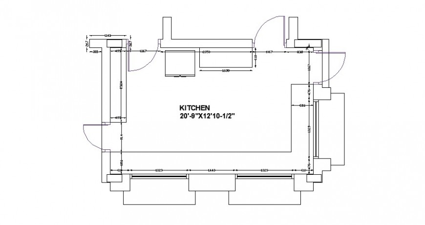 Kitchen layout plan with dimensions cad drawing details dwg file