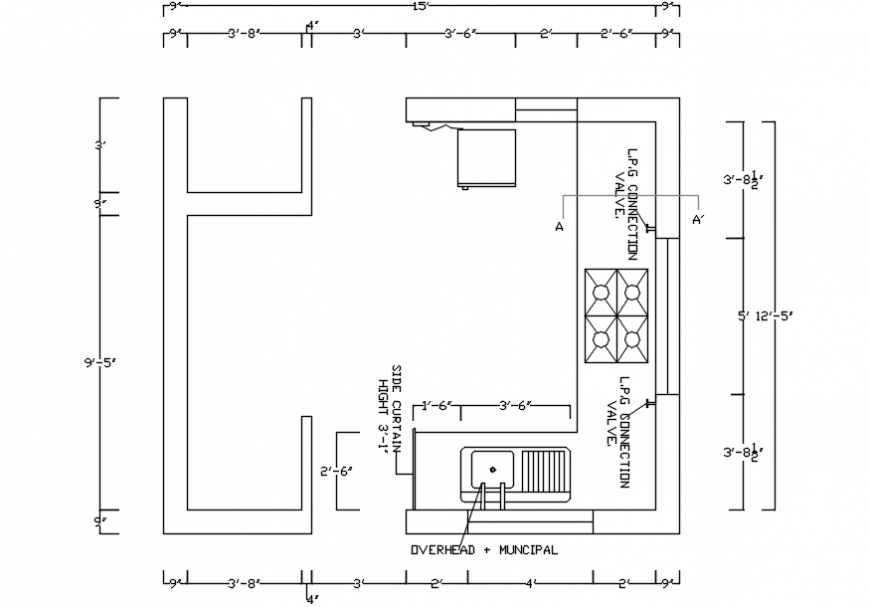 Kitchen layout plan with furniture and dimensions cad drawing details dwg file