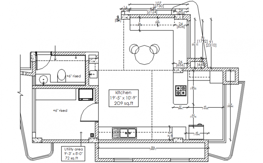 Kitchen layout plan with furniture of villa building dwg file