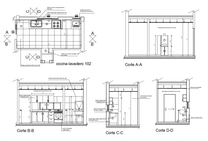 Kitchen of house all sided section, plan and sink installation drawing details dwg file