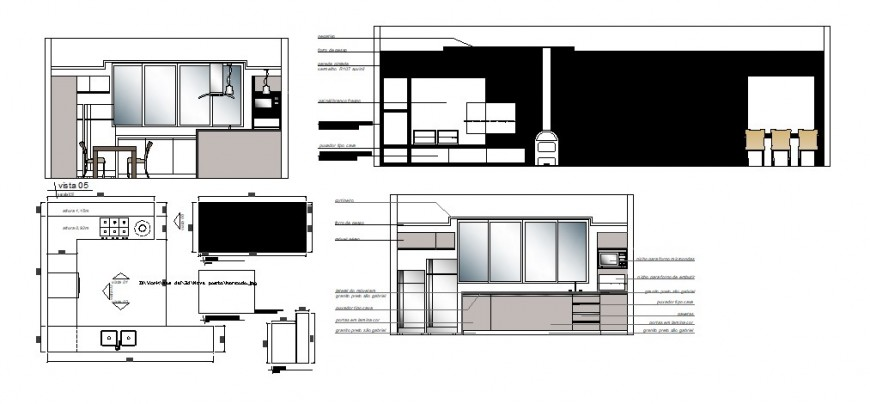 Kitchen of house main elevation, section, plan and interior details dwg file