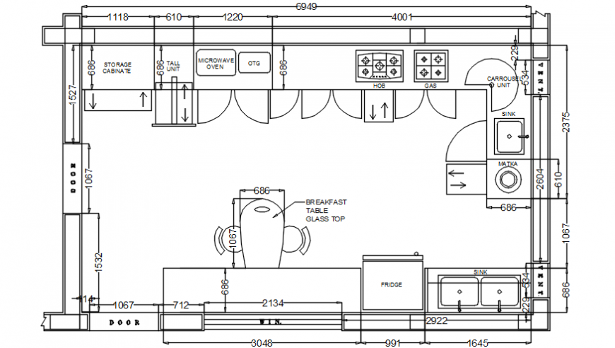 Kitchen of office layout plan and furniture auto-cad drawing details dwg file