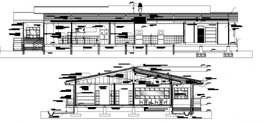 Kitchen of restaurant main and back section with furniture cad drawing details dwg file