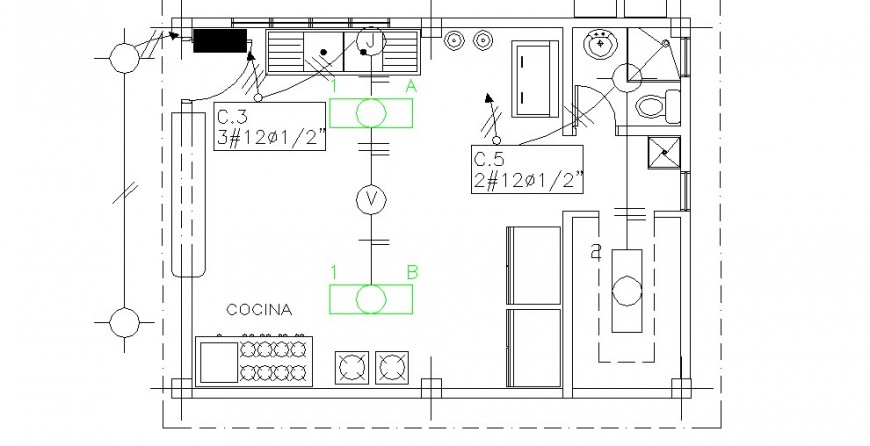 Kitchen of school distribution plan cad drawing details dwg file