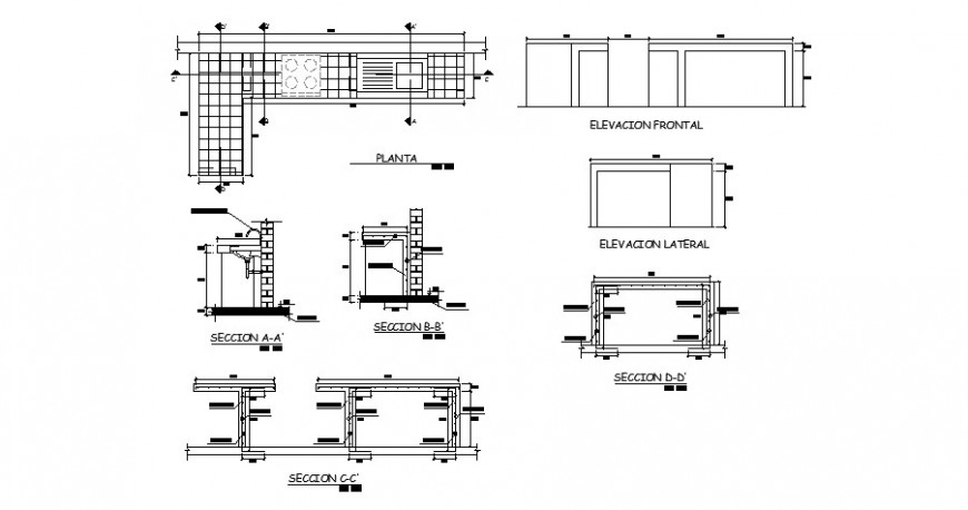 Kitchen of school elevation, section, plan and construction details dwg file