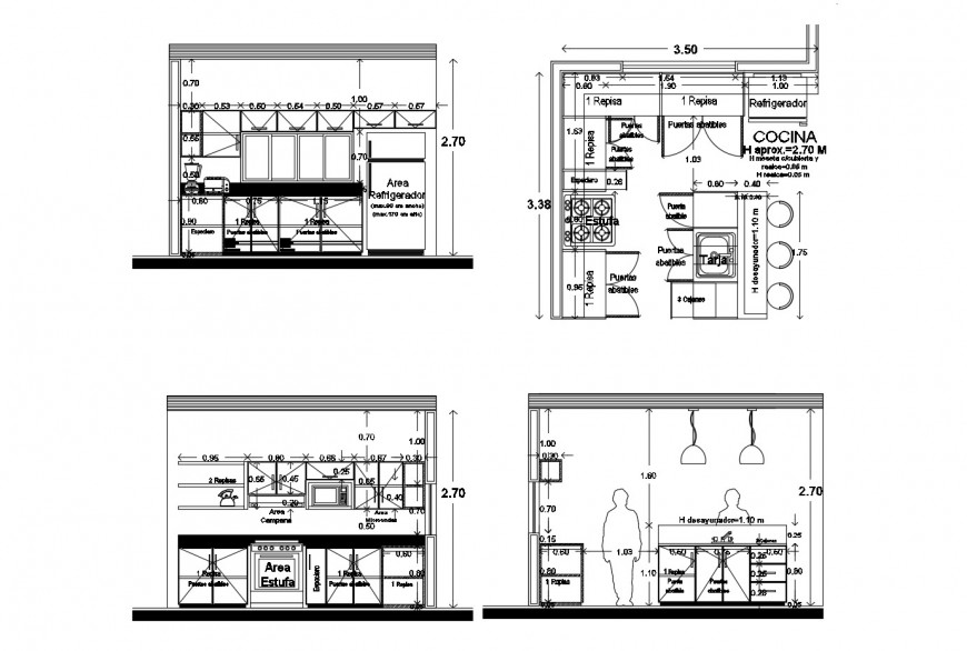Kitchen of villa all sided section, plan with furniture and interior cad drawing details dwg file