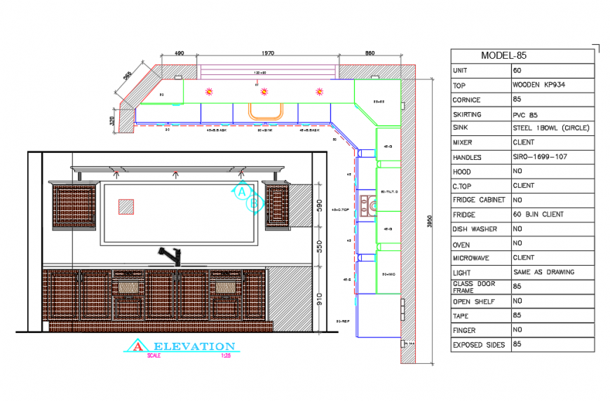 Kitchen Plan & Elevation design drawing in autocad file