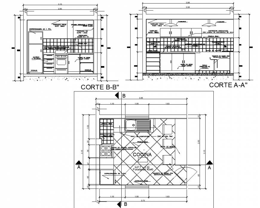 Kitchen plan and detail drawing in dwg AutoCAD file.