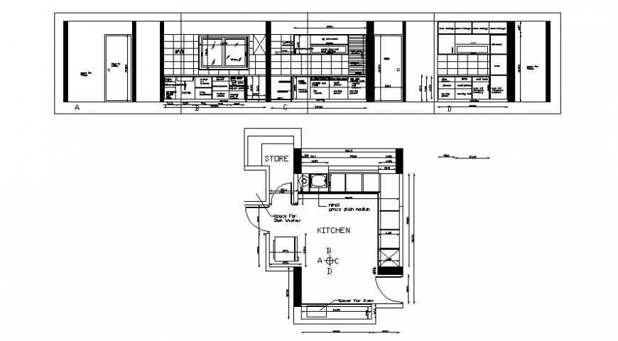 Kitchen plan and elevation in AutoCAD file