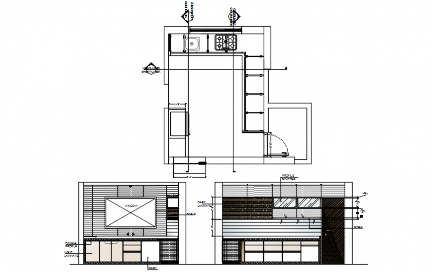 Kitchen plan and elevation view