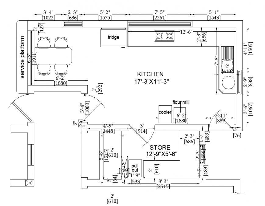 Kitchen plan design with interior detail dwg file