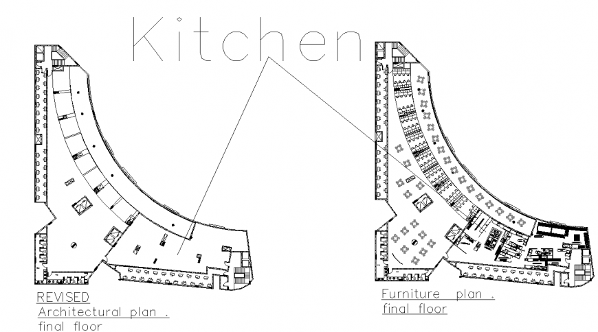 Kitchen plan with detail dwg file.