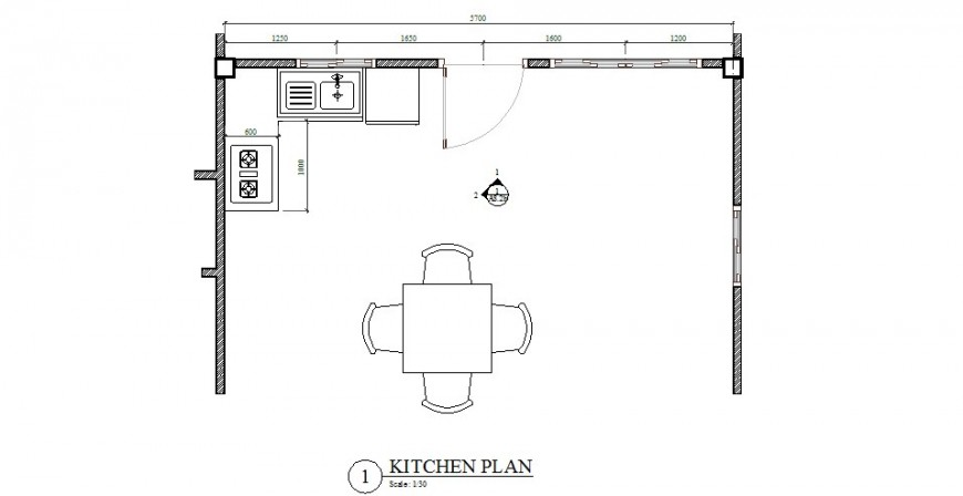 Kitchen plan with furniture layout of house building cad drawing details dwg file