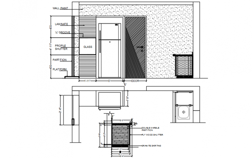 Kitchen platform and sectional detailing of furniture