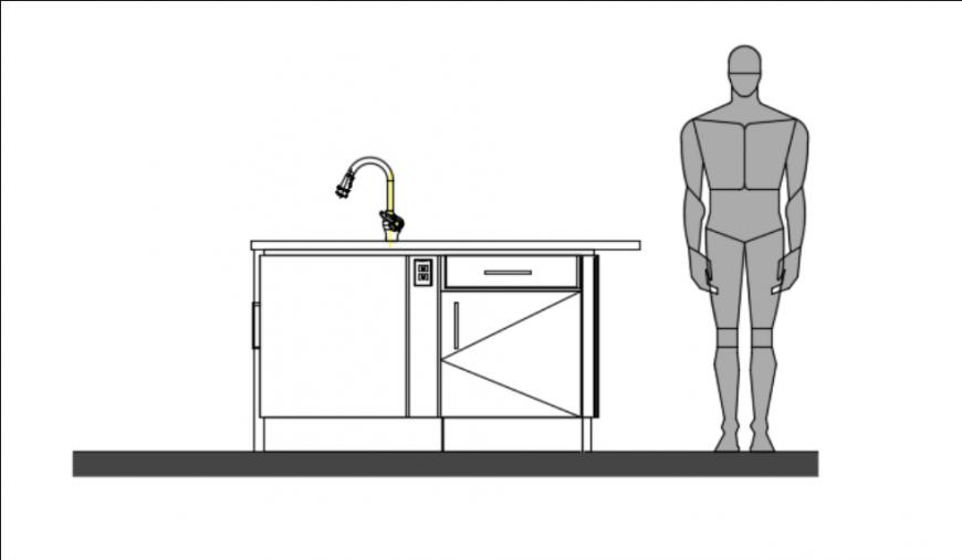 Kitchen platform height detail dwg file