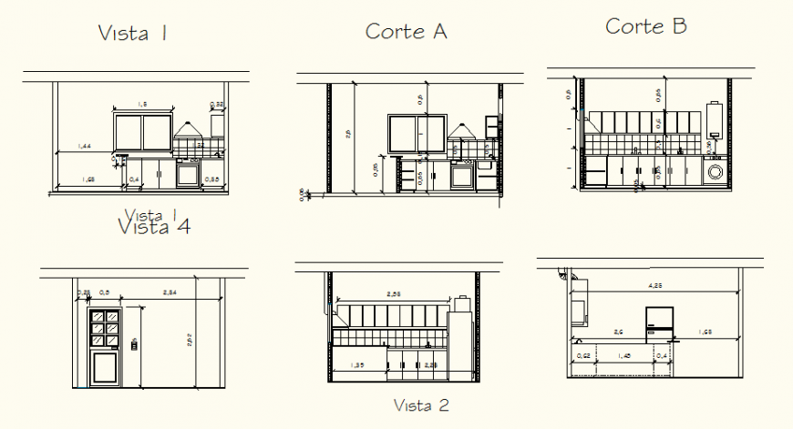Kitchen remodel one family housing elevation and plan autocad file